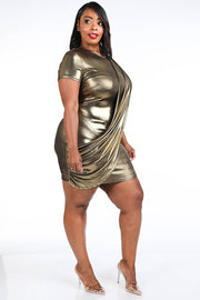 Draped Metallic Mini Dress - Eli-ellas