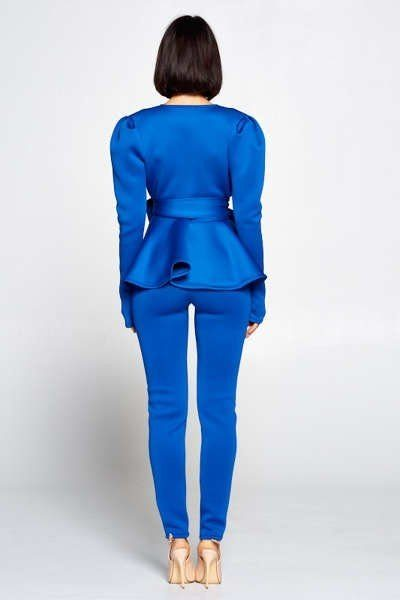 V Neckline Top With Waist Tie To Make A Bow Detail Paired With Elastic Waist Pants - Eli-ellas