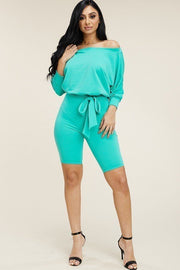 Slouchy Solid French Terry 3/4 Sleeve Romper With Tie Waist - Eli-ellas