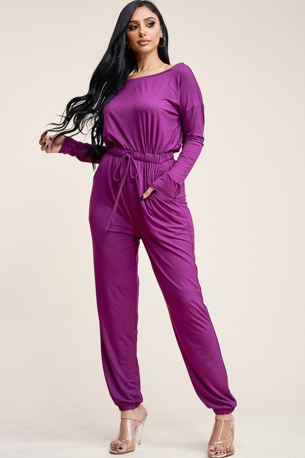 Solid Rayon Spandex Slouchy Jumpsuit With Pockets - Eli-ellas