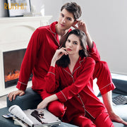J&Q christmas products couple matching silk pijamas home clothing for man and women couple Christmas pajamas christmas clothing - Eli-ellas