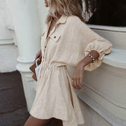 Elegant linen short shirt dress - Eli-ellas