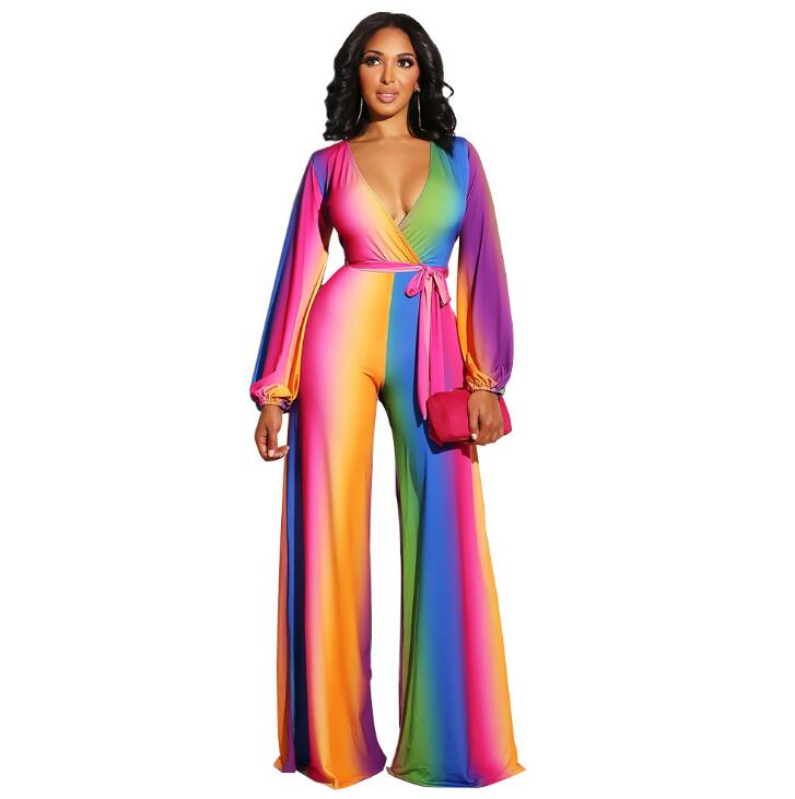 gradient color sexy deep V-neck casual jumpsuit with wide leg micro-bar pants - Eli-ellas