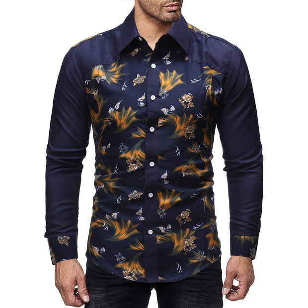 Men Regular Turn-down Collar Hip Hop Polyester Print Pattern Casual Button Shirts