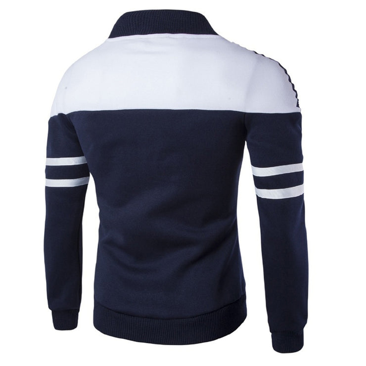 Men Casual Polyester Rib sleeve Standard Regular Zipper Jackets - Eli-ellas