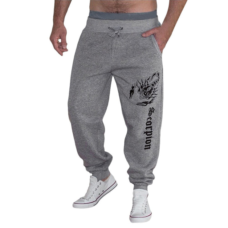 Stylish Men's Cotton Scorpion Letter Print Fashion Full Length Sports Pant