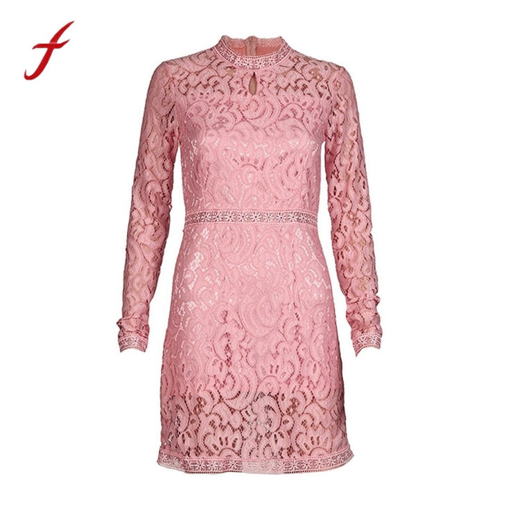 Women Empire Regular Lace Full Sleeve Mini Dress - Eli-ellas