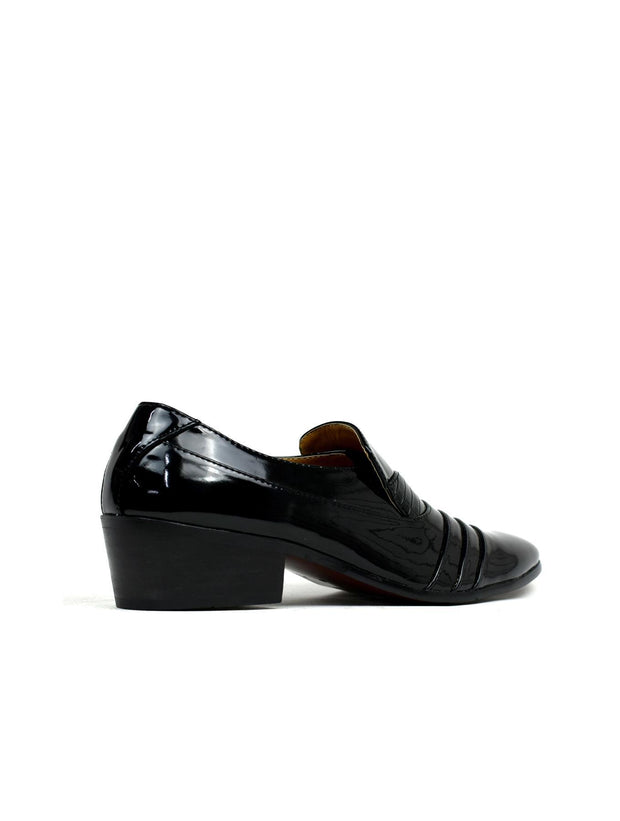 Men's Cuban Heel Formal Slip On Shoes Black Shiny - Eli-ellas
