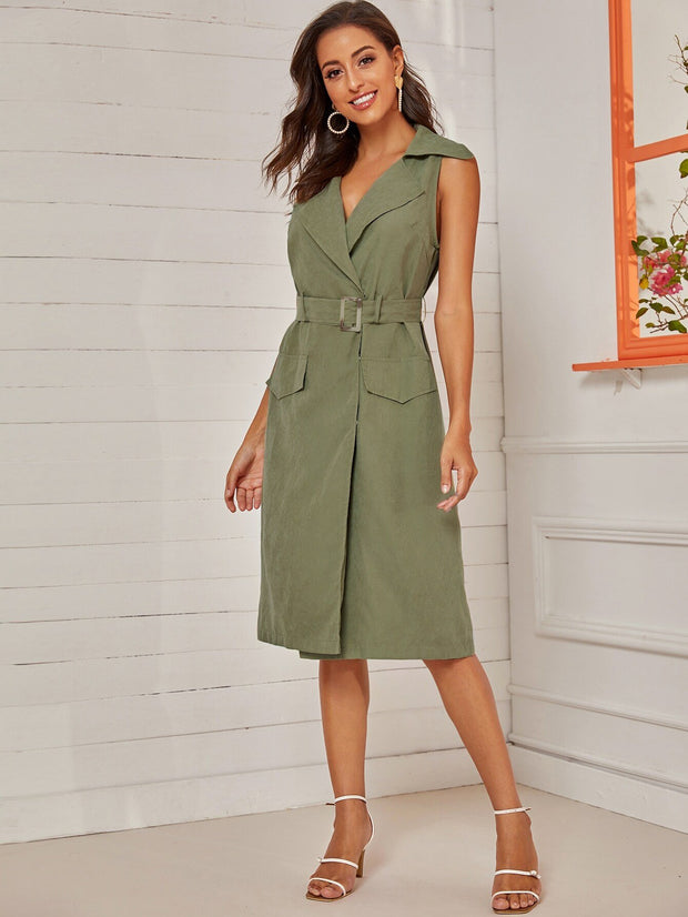 eliellas Pocket Side Sleeveless Belted Midi Dress - Eli-ellas