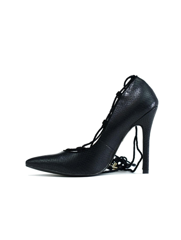 Lace Up Classic Pump Heel Black Snake - Eli-ellas