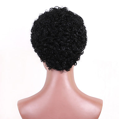 Human Hair Wig Short Curly Pixie Cut Short Hairstyles 2019 Berry Curly Natural Black For Black Women Machine Made Women's Black#1B Medium Brown Dark Wine - Eli-ellas