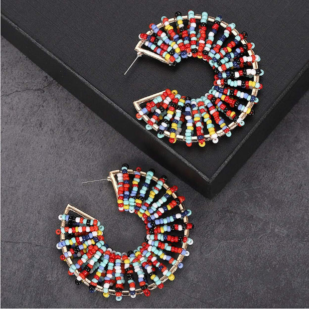 Round Beaded Colorful Earrings - Eli-ellas