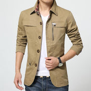Mens Collar Jacket with Plaid Details - Eli-ellas