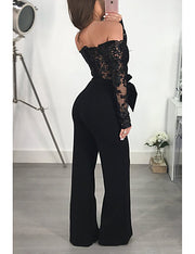 Women's Kentucky Derby Black Wine Gold Wide Leg Jumpsuit - Eli-ellas