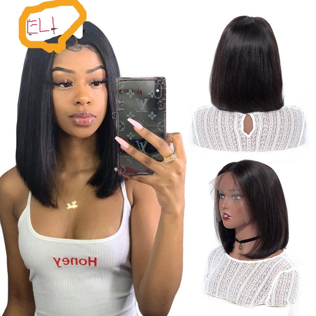 Straight Short Human Hair Wigs 360 Lace Frontal Wig Straight Bob Lace