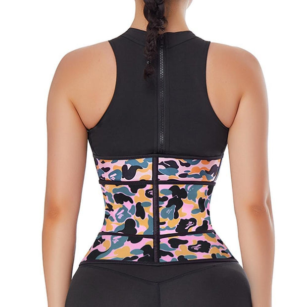 fajas colombianas Womens Camouflage Printing Latex Waist Trainer