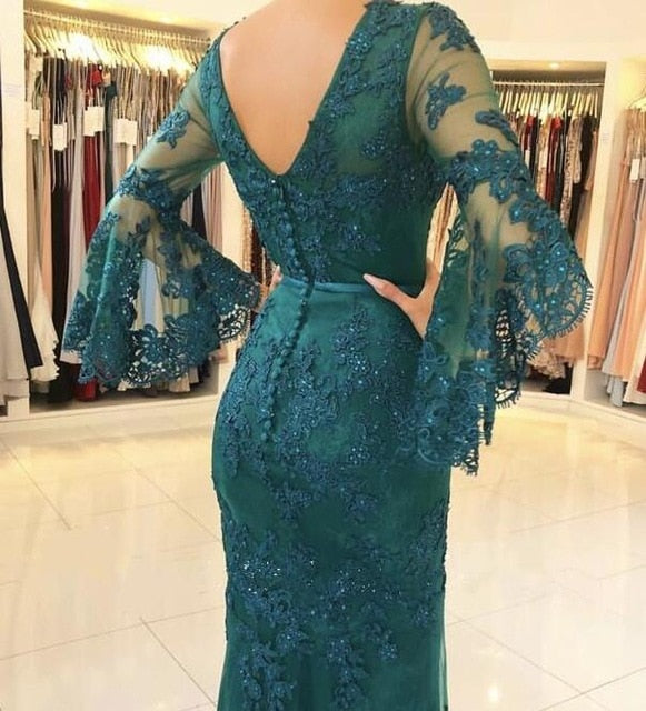 Evening Dresses 2019 Mermaid V-neck 3/4 Sleeves Lace B - Eli-ellas