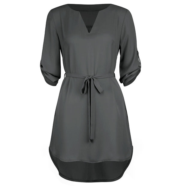 Women Polyester Solid Casual Straight Regular Above Knee Natural Mini Dress