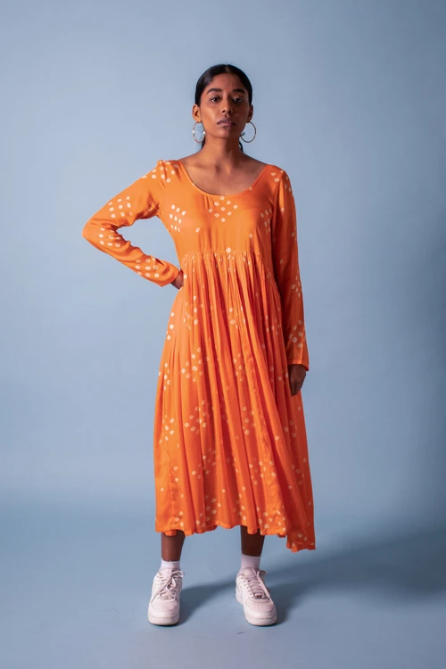Dotty Kaki Dress (Orange)