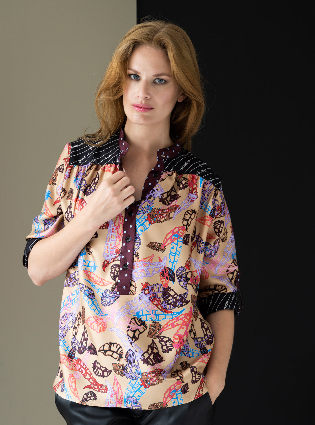 BLISS Blouse / Feathers on Croissant