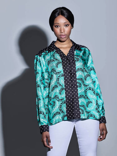 LILLY Blouse/ Big paisley on green