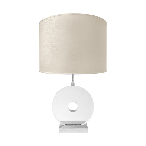 NICKEL AND PLEXIGLASS DISK TABLE LAMP - Flair Home Collection