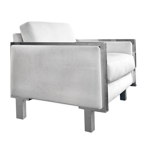 VINTAGE CHROME FRAME CLUB CHAIR IN CREAM VELVET UPHOLSTERY - Flair Home Collection