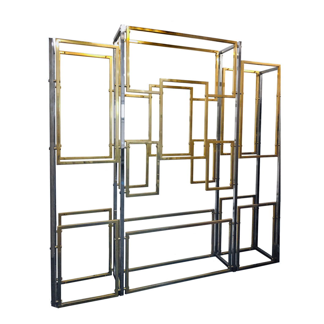 BRASS AND CHROME MULTI-TIERED ETAGERE - Flair Home Collection