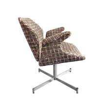 Load image into Gallery viewer, MID-CENTURY CURVED ARMCHAIR IN BROWN AND WHITE BOUCLÉ ON CHROME BASE - Flair Home Collection