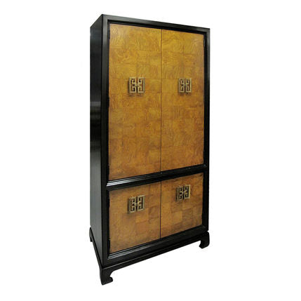VINTAGE CHINOISERIE STYLE BURLWOOD CABINET - Flair Home Collection