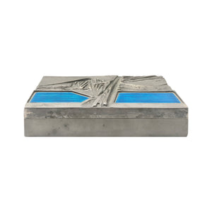 DEL CAMPO ENGRAVED STEEL BOX WITH BLUE ENAMEL LID DETAIL - Flair Home Collection