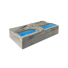 Load image into Gallery viewer, DEL CAMPO ENGRAVED STEEL BOX WITH BLUE ENAMEL LID DETAIL - Flair Home Collection