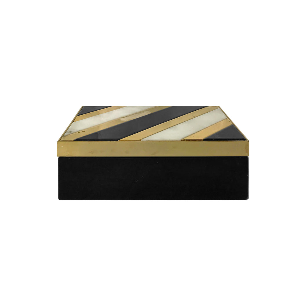 VINTAGE ALABASTER AND BLACK STONE BOX WITH BRASS INLAY - Flair Home Collection