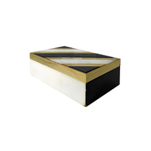 Load image into Gallery viewer, ALABASTER AND BLACK STONE BOX WITH BRASS INLAY - Flair Home Collection