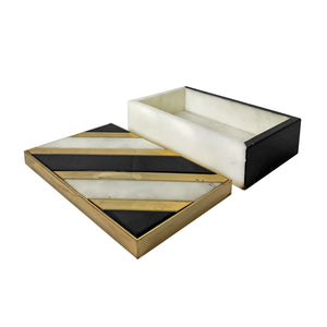 ALABASTER AND BLACK STONE BOX WITH BRASS INLAY - Flair Home Collection