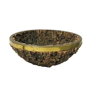 GABRIELLA CRESPI ROUND BARK AND BRASS BOWL - Flair Home Collection