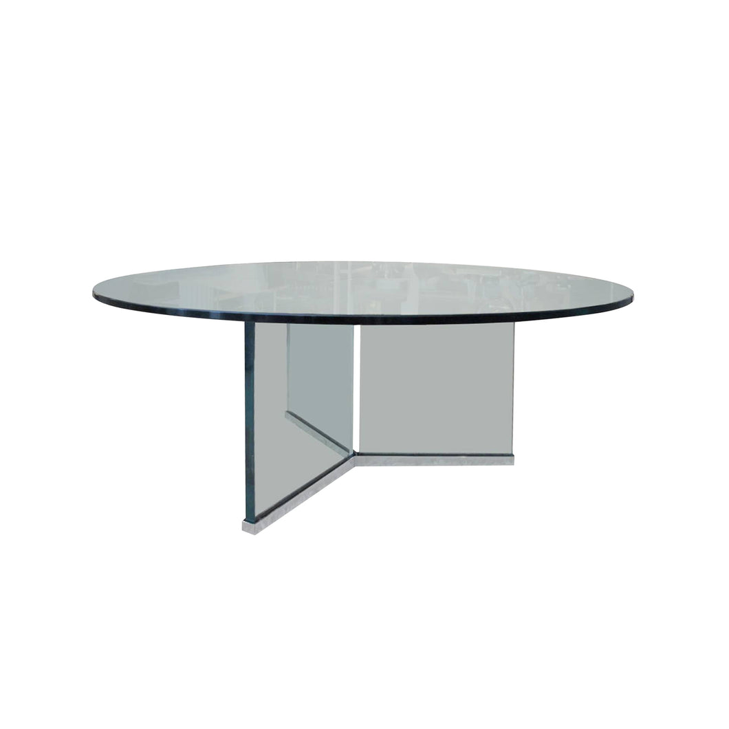 CHROME AND GLASS COCKTAIL TABLE BY I.M. ROSEN FOR PACE COLLECTION - Flair Home Collection