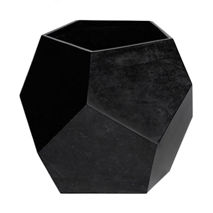 LARGE BLACK POLYHEDRA STONE PLANTER - Flair Home Collection
