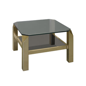 CUT CORNER BRASS AND GLASS TWO TIERED SIDE TABLE - Flair Home Collection