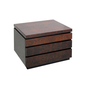 JEAN CLAUDE MAHEY BURLED WOOD AND BLACK LACQUER NIGHTSTAND - Flair Home Collection
