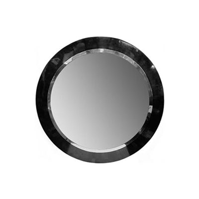 ROUND SLIMLINE BLACK PEN SHELL AND STEEL MIRROR - Flair Home Collection