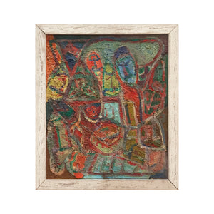 COLORFUL MIDCENTURY FIGURATIVE ABSTRACT PAINTING - Flair Home Collection