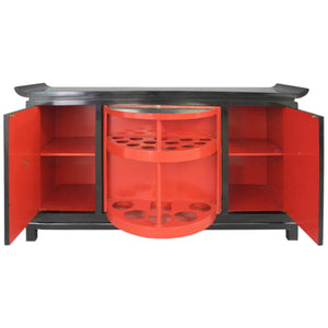 JAMES MONT PAGODA STYLE BLACK LACQUER BAR CABINET - Flair Home Collection