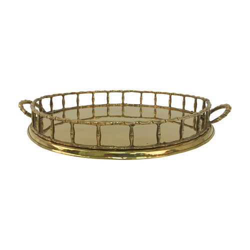 FAUX BAMBOO BRASS TRAY - Flair Home Collection