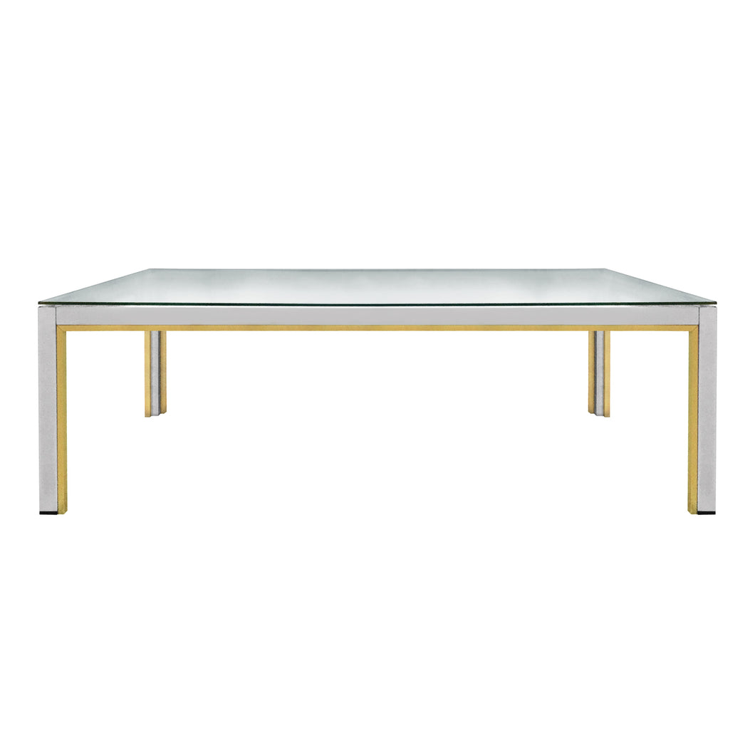 ROMEO REGA RECTANGULAR BRASS AND CHROME COFFEE TABLE - Flair Home Collection
