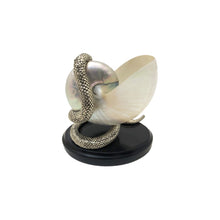 Load image into Gallery viewer, HANDMADE SILVER PLATED SNAKE ON SEASHELL SCULPTURE - Flair Home Collection