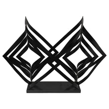 Load image into Gallery viewer, BLACK METAL DOUBLE PRISM SCULPTURE ON BLACK MARBLE BASE - Flair Home Collection