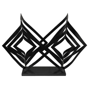 BLACK METAL DOUBLE PRISM SCULPTURE ON BLACK MARBLE BASE - Flair Home Collection