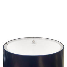 Load image into Gallery viewer, VINTAGE CHROME COLUMN FLOOR LAMP WITH NAVY BLUE DRUM SHADE - Flair Home Collection