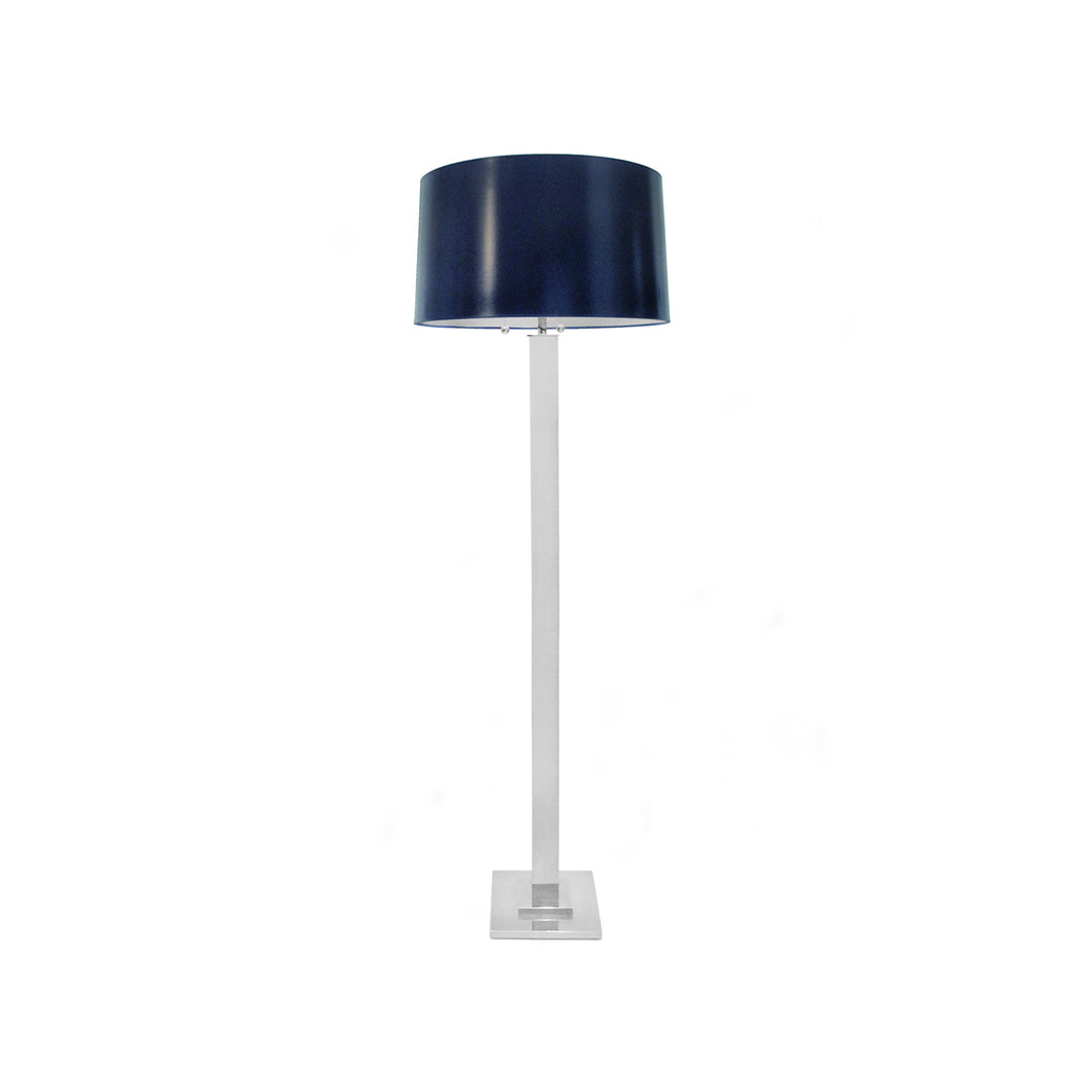 VINTAGE CHROME COLUMN FLOOR LAMP WITH NAVY BLUE DRUM SHADE - Flair Home Collection